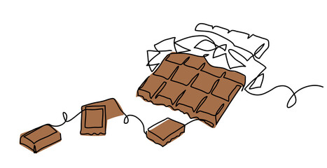 Chocolate bar one continuous line drawing. Unfolded chocolate minimal vector illustration with pieces