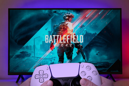 Boy playing Battlefield 2042 on TV with Playstation 5 controller. 10th Jun, 2021, Sao Paulo, Brazil