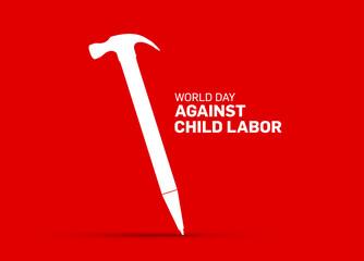 Obraz World Day Against Child Labor day concept vector illustration. - fototapety do salonu