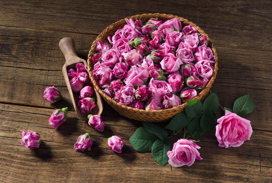 Buds of the tea roses in basket