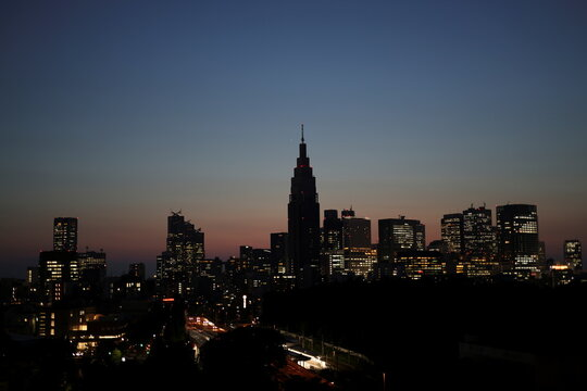 A skyline of buildings at Shinjuku district are seen during sunset in Tokyo