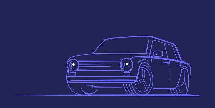 Vector line auto. Car retro design concept