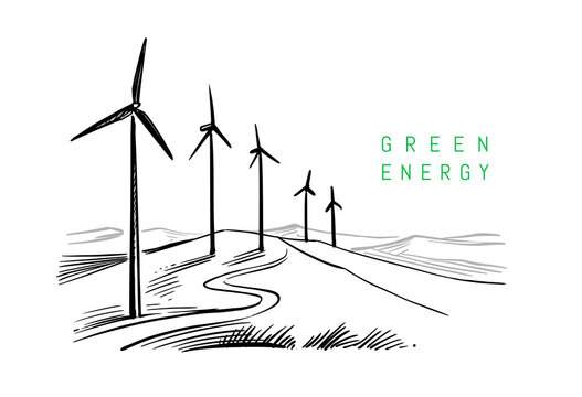 wind energy drawing on white background. Sketch design
