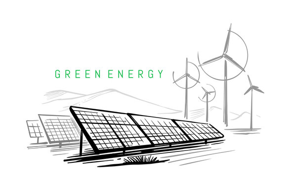 Wind turbines and solar panels sketch vector