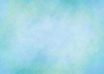 Watercolor background in soft blue and green painting with gradient painted texture lighter in the center, pastel blue green backgrounds or paper banner