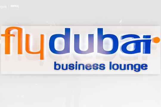 26 February 2021, Dubai, UAE: Flydubai airline business lounge zone in Dubai Airport