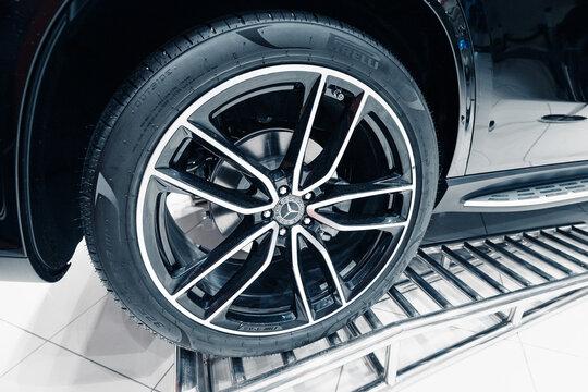 26 February 2021, Dubai, UAE: Pirelli car tire and mercedes-benz logo on a wheel
