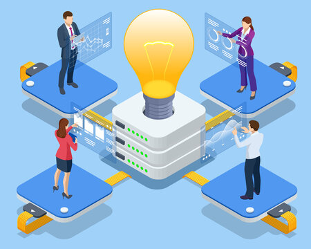 Isometric Online devices upload, download information, data in database on cloud services. Business Intelligence and business rule, big data analytics, application software, data management