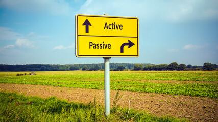 Fototapeta Street Sign to Active versus Passive obraz