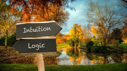 Fototapeta Street Sign Intuition versus Logic obraz