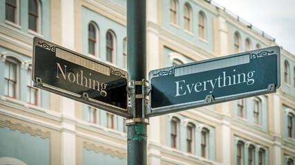 Fototapeta Street Sign Everything versus Nothing obraz