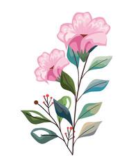 Fototapeta pink flowers with leaves obraz