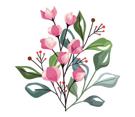 Fototapeta pink flowers and berries with leaves obraz