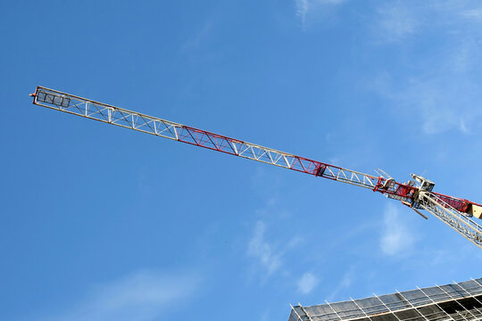 Tower crane high above new building site at 56-58 Beane St. Gosford, Australia. May 2, 2021.Part of a series.