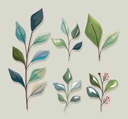 Fototapeta Plant leaves icon set obraz