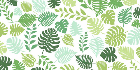 Fototapeta Background with exotic jungle plants. Tropical palm leaves. Rainforest illustration in green colors. obraz