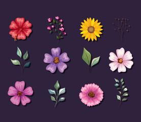 Fototapeta flower and leaves set obraz