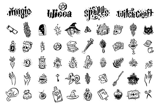 Mysticism witchcraft occult hand drawn icon illustration set