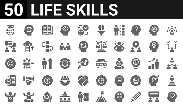 50 icon pack of life skills web icons. filled glyph icons such as open mind,intellect,self esteem,planning,stress,negociation,comprehension,drive. vector illustration