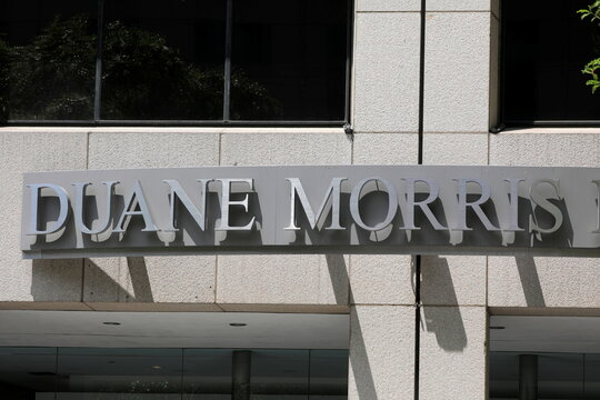 Signage for the law firm Duane Morris is seen at their legal offices in Philadelphia, Pennsylvania