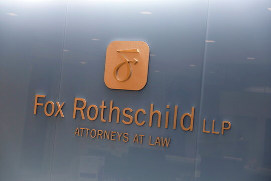 The corporate logo of the law firm Fox Rothschild is seen at their legal offices in Philadelphia, Pennsylvania