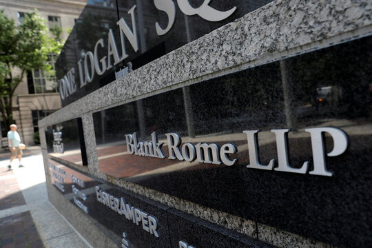 The logo of law firm Blank Rome is seen at their legal offices in Philadelphia, Pennsylvania