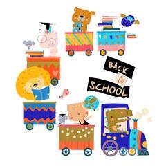 Obraz Happy Cartoon Animals riding to the School by Train - fototapety do salonu