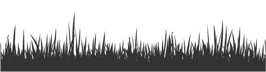 Grey horizontal banner of wavy meadow silhouette with grass. Vector  - fototapety na wymiar