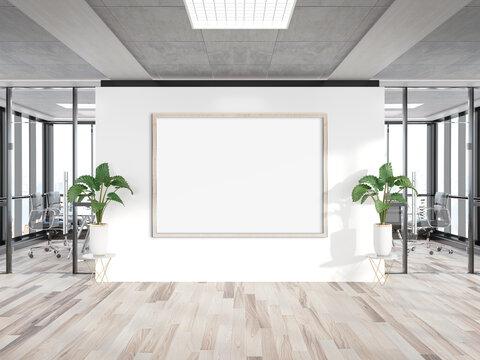Black horizonal frame Mockup hanging on wall. Mock up of a billboard in modern wooden office interior 3D rendering
