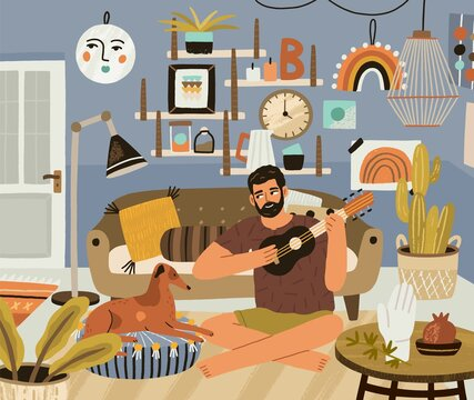 Young man playing music on ukulele, sitting in cozy living room with dog. Guy with small guitar at modern home. Person resting with musical instrument and pet. Colored flat vector illustration