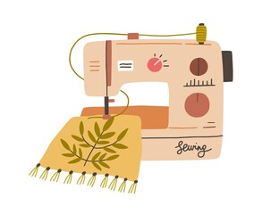 Fototapeta Modern embroidery machine with thread spool embroidering on canvas. process of needlework creation on sewing equipment. Flat vector illustration of fancywork isolated on white background obraz