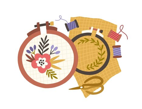 Embroidery hoops, spools of threads and scissors. Handmade needlework on canvas in frame rings. Needlecraft art. Flat vector illustration of hand-made handicraft isolated on white background