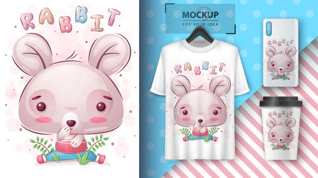Cute rabbit - poster and merchandising.