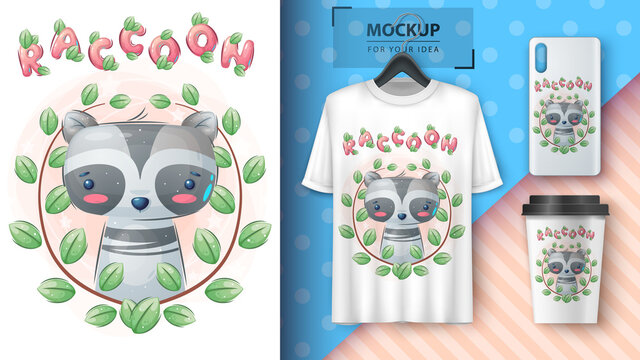 Raccoon in flower - poster and merchandising.