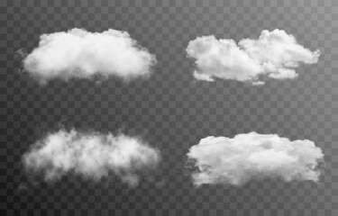 Fototapeta Set of vector clouds or smoke on an isolated transparent background. Cloud, smoke, fog, png. obraz