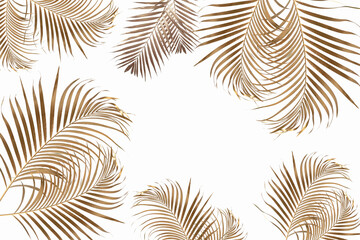 Gold tropical palm leaves on white background. Flat lay, top view minimal concept.