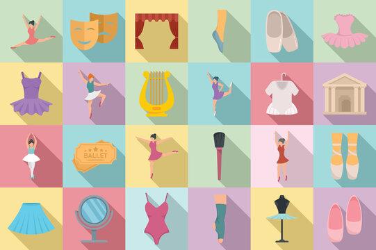 Ballet icons set, flat style