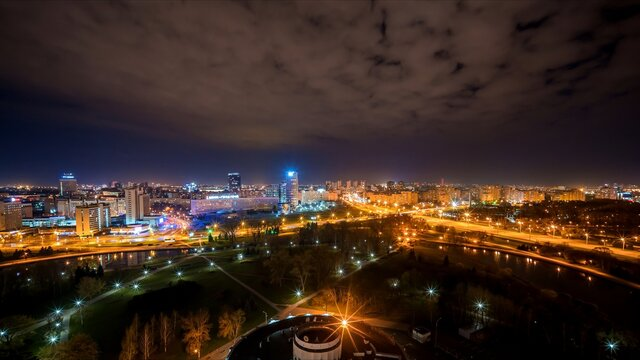 Night time-lapse of the capital of Belarus, Minsk.