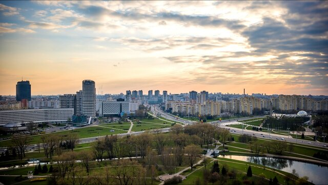 Evening timee of the capital of Belarus, Minsk.