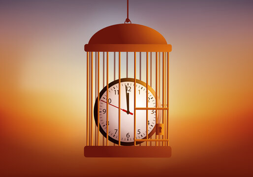 Concept de la course après le temps en entreprise et du stress au travail, avec une horloge enfermé dans une cage pour rallonger le délais.