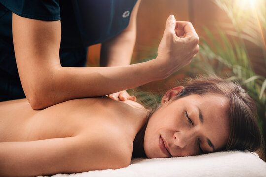 Deep Tissue Massage Close up.
