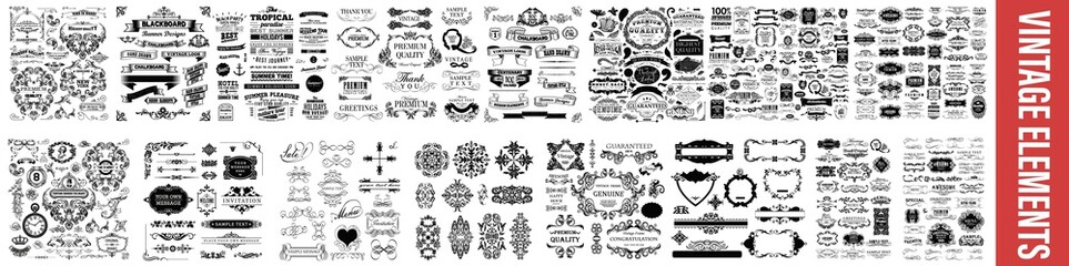 Obraz  vintage styled calligraphic elements or flourishes, Vintage Dividers And Borders, Decorative Ornate Elements and Badges, Vector set of calligraphic design elements, Vintage line elements - fototapety do salonu