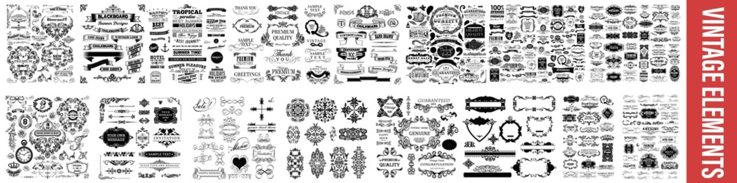 vintage styled calligraphic elements or flourishes, Vintage Dividers And Borders, Decorative Ornate Elements and Badges, Vector set of calligraphic design elements, Vintage line elements