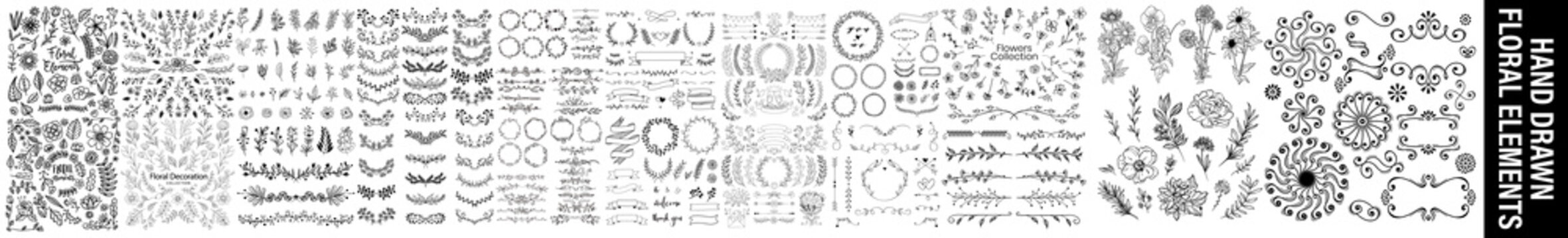 Hand sketched vector vintage elements ( laurels, leaves, flowers, swirls and feathers).sketches and line doodles hand drawn design floral elements, Hand drawn vintage leaves, arrows, feathers.