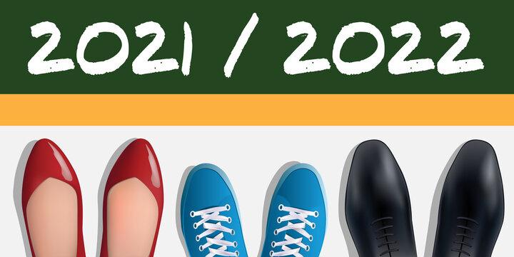 Concept de la rentrée des classes de 2022, avec pour symbole, les chaussures vues du dessus de deux parent et d'un élève devant la ligne de départ.
