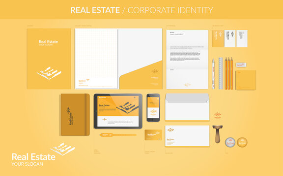 CORPORATE IDENTITY Real Estate - yellow logo and instruments for your business: letterhead, folder, block notes, agenda, pin, web; all in vectors.