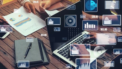 Creative visual of business data analyzing technology . Concept of digital data for marketing...