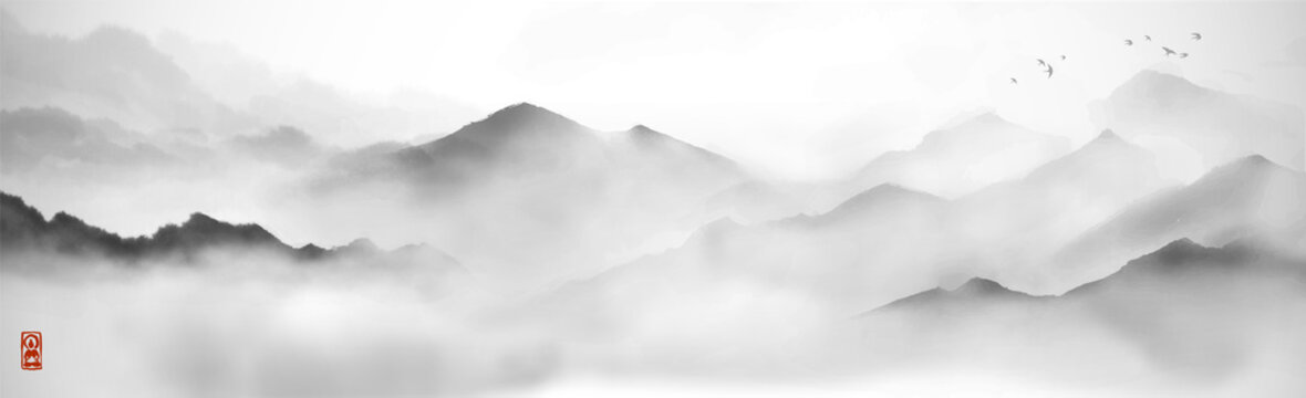 Misty mountains with gentle slopes and flock of birds in the sky. Traditional oriental ink painting sumi-e, u-sin, go-hua.
