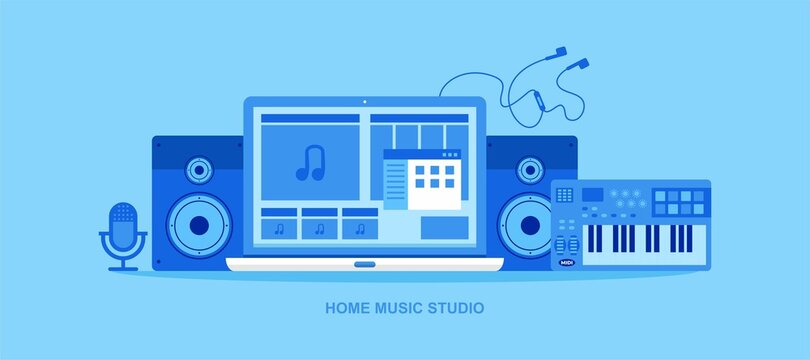 Home music studio, music production and recording vector illustration. Producer, musician, composer making a song in home recording studio. Composing music in home