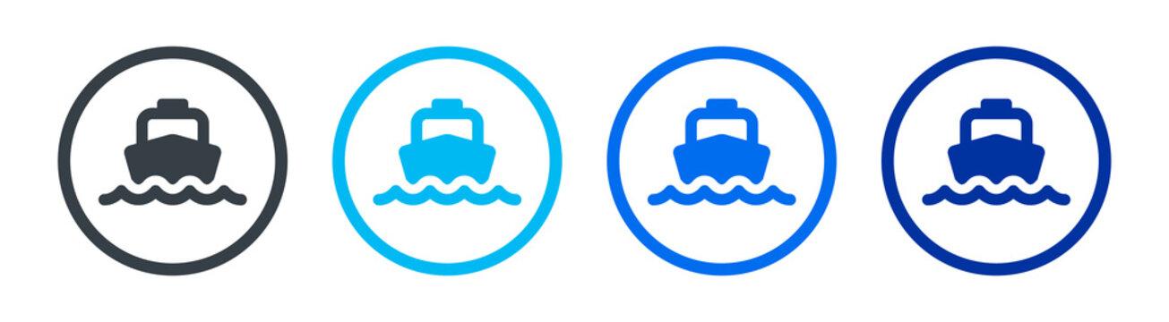 Ferry boat icons set. Marine transportation. vector illustration